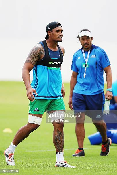 Jerome Kaino and head coach Tana Umaga of the Blues look on during a Blues super rugby training session at Alexander Park on February 2 2016 in...
