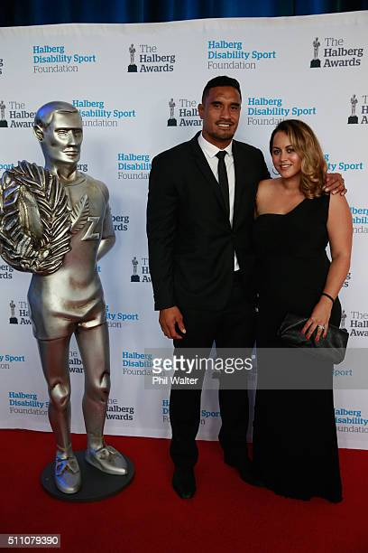 Jerome Kaino and his wife Diana during the 2016 Halberg Awards at Vector Arena on February 18 2016 in Auckland New Zealand