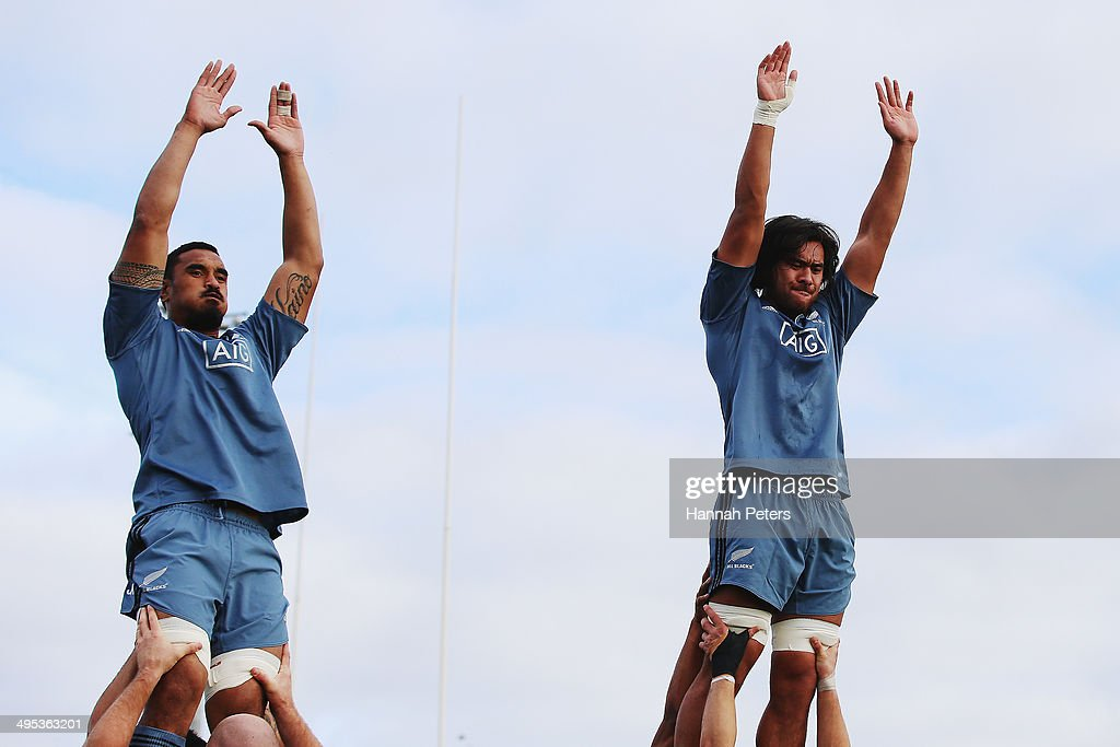 Jerome Kaino and Steven Luatua of the All Blacks run through lineout drills during a New Zealand All Blacks training session at Trusts Stadium on...