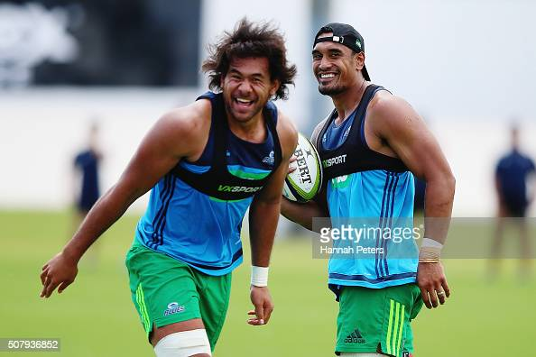Jerome Kaino and Steven Luatua of the Blues run through drills during a Blues super rugby training session at Alexander Park on February 2 2016 in...