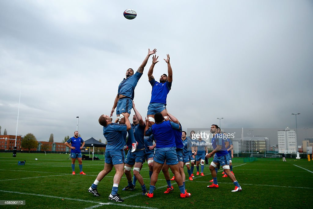 Jerome Kaino and Victor Vito of the All Blacks practice the lineout during a New Zealand All Blacks training session at Latymers on November 4 2014...