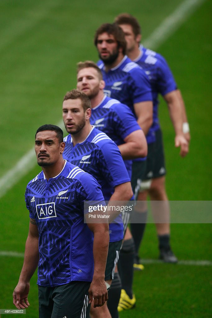 Jerome Kaino, Luke Romano, Kieran Read,Samuel Whitelock and Richie McCaw of the All Blacks during a New Zealand All Blacks training session at Mowden Park on October 5, 2015 in Darlington, United Kingdom.