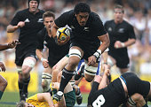 Jerome Kaino of the All Blacks leaps his way forward during the 2010 TriNations Bledisloe Cup match between the New Zealand All Blacks and the...