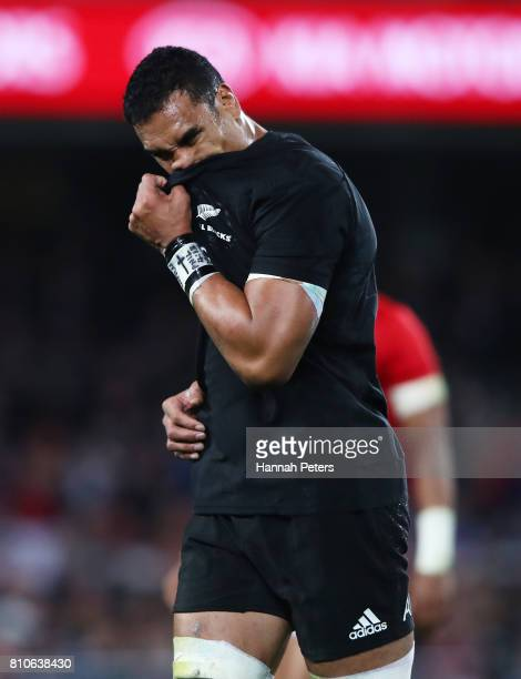 Jerome Kaino of the All Blacks leaves the field after receiving the yellow card during the third test match between the New Zealand All Blacks and...