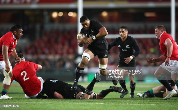 Jerome Kaino of the All Blacks on the break during the first test match between the New Zealand All Blacks and the British Irish Lions at Eden Park...