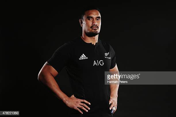 Jerome Kaino of the All Blacks poses for a photo during the New Zealand All Blacks portrait session at The Spencer on Byron Hotel on June 24 2015 in...