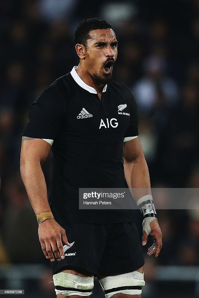 <a gi-track='captionPersonalityLinkClicked' href=/galleries/search?phrase=Jerome+Kaino&family=editorial&specificpeople=566976 ng-click='$event.stopPropagation()'>Jerome Kaino</a> of the All Blacks reacts after receiving a penalty during the International Test Match between the New Zealand All Blacks and England at Forsyth Barr Stadium on June 14, 2014 in Dunedin, New Zealand.