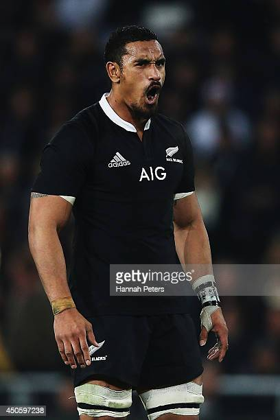 Jerome Kaino of the All Blacks reacts after receiving a penalty during the International Test Match between the New Zealand All Blacks and England at...