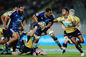 Jerome Kaino of the Blues charges forward during the round nine Super Rugby match between the Blues and the Brumbies at Eden Park on April 10 2015 in...
