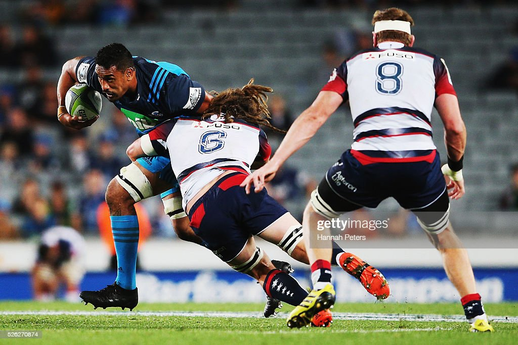 <a gi-track='captionPersonalityLinkClicked' href=/galleries/search?phrase=Jerome+Kaino&family=editorial&specificpeople=566976 ng-click='$event.stopPropagation()'>Jerome Kaino</a> of the Blues charges forward during the Super Rugby round ten match between the Blues and the Melbourne Rebels at Eden Park on April 30, 2016 in Auckland, New Zealand.