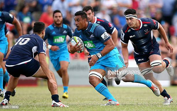 Jerome Kaino of the Blues makes a break during the Super Rugby preseason match between the Blues and the Rebels at Pakuranga Rugby Club on February 4...