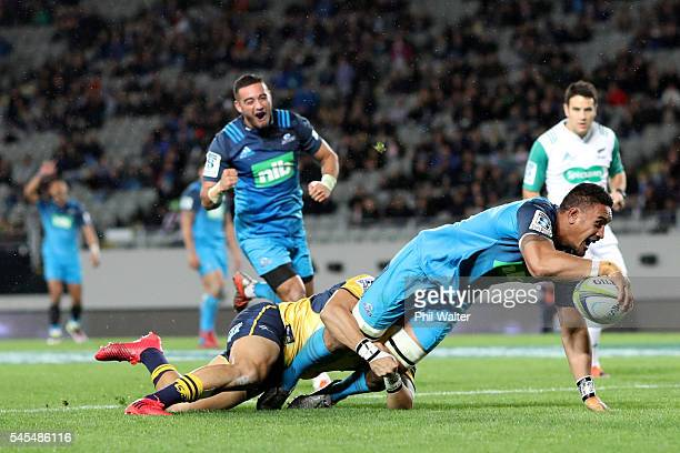 Jerome Kaino of the Blues scores a try during the round 16 Super Rugby match between the Blues and the Brumbies at Eden Park on July 8 2016 in...