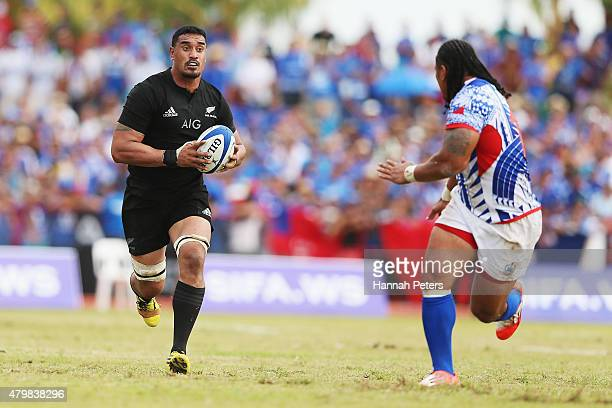 Jerome Kaino of the New Zealand All Blacks charges forward during the International Test match between Samoa and the New Zealand All Blacks at Apia...