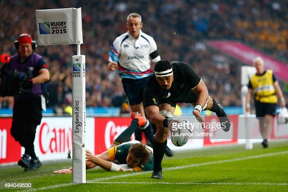 Jerome Kaino of the New Zealand All Blacks scores the opening try during the 2015 Rugby World Cup Semi Final match between South Africa and New...