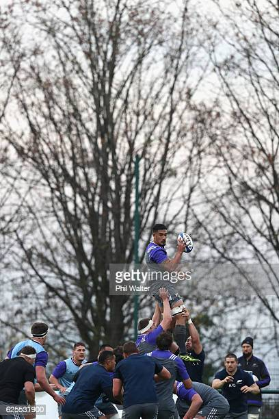 Jerome Kaino of the New Zealand All Blacks takes the ball in the lineout during a training session at the Suresnois Rugby Club on November 24 2016 in...