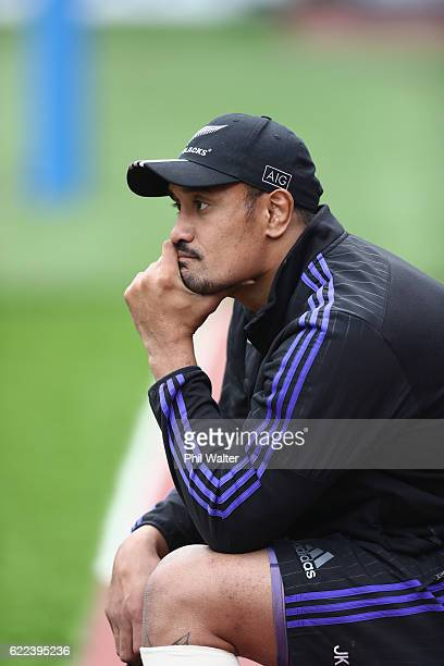 Jerome Kaino of the New Zealand All Blacks watches from the sideline during the All Blacks captains run at Stadio Olimpico on November 11 2016 in...