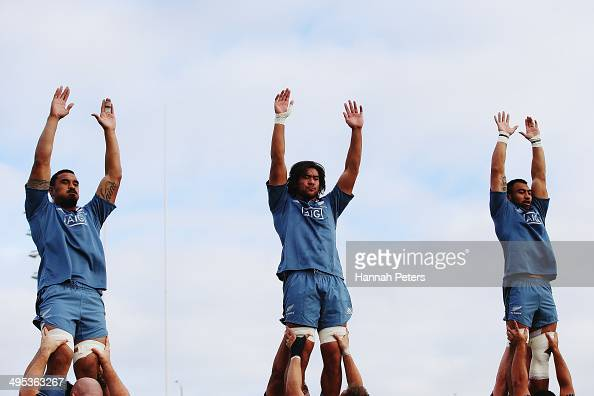 Jerome Kaino Steven Luatua and Victor Vito of the All Blacks run through lineout drills during a New Zealand All Blacks training session at Trusts...