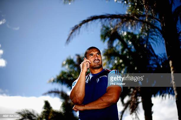 Jerome Kaino takes a phone call after a Blues Super Rugby press conference at Unitec on March 31 2015 in Auckland New Zealand Jerome Kaino today...