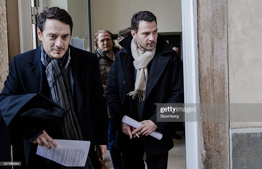 Jerome Kerviel former trader for Societe Generale SA right David Koubbi a lawyer left and Benoit Pruvost a lawyer center leave Versailles courthouse...