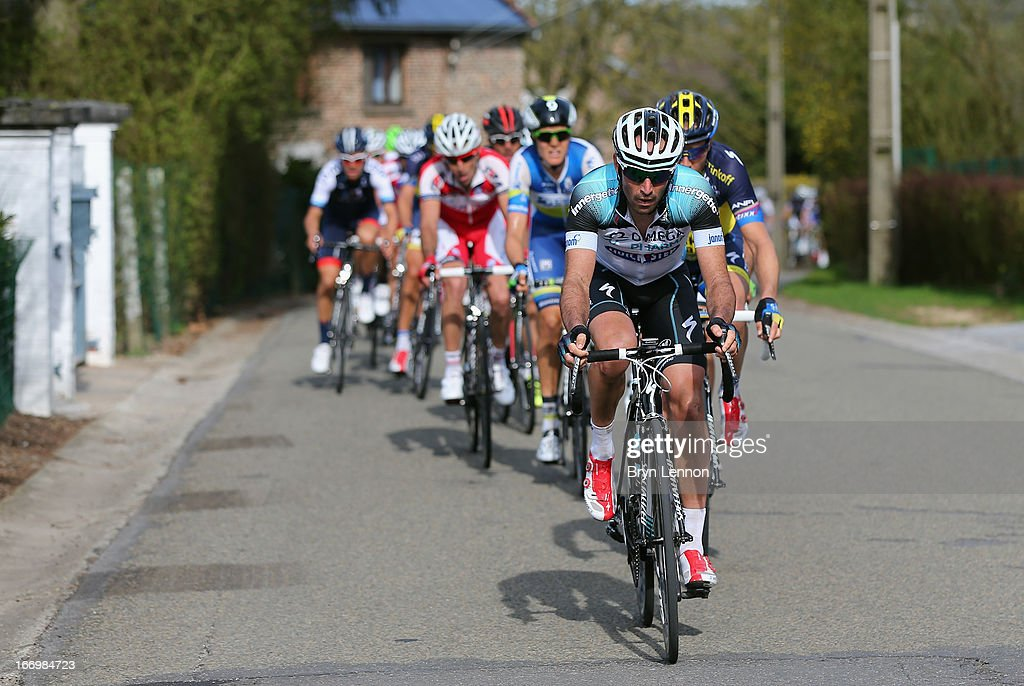 <a gi-track='captionPersonalityLinkClicked' href=/galleries/search?phrase=Jerome+Pineau&family=editorial&specificpeople=727597 ng-click='$event.stopPropagation()'>Jerome Pineau</a> of France and Omega Pharma-Quickstep leads the peloton makes it's way through the Belgian Countryside during the 77th edition of La Fleche Wallonne cycle race from Binche to Huy on April 17, 2013 in Huy, Belgium.