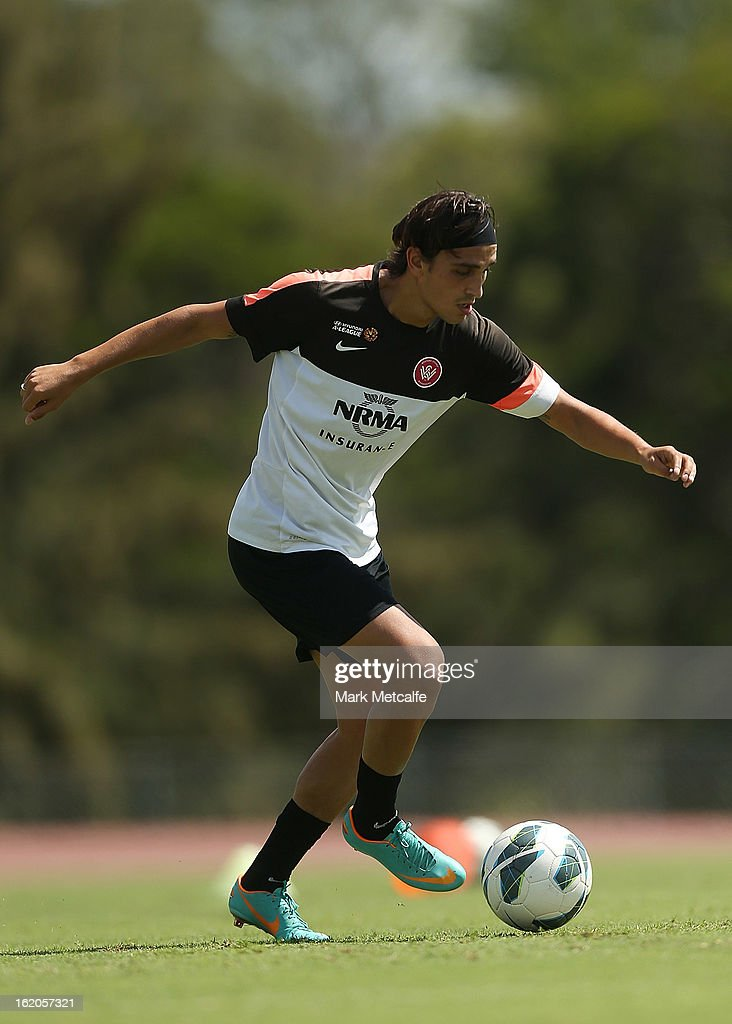 Jerome Polenz controls the ball during a Western Sydney Wanderers A-League training session at Blacktown International Sportspark on February 19, 2013 in Sydney, Australia.