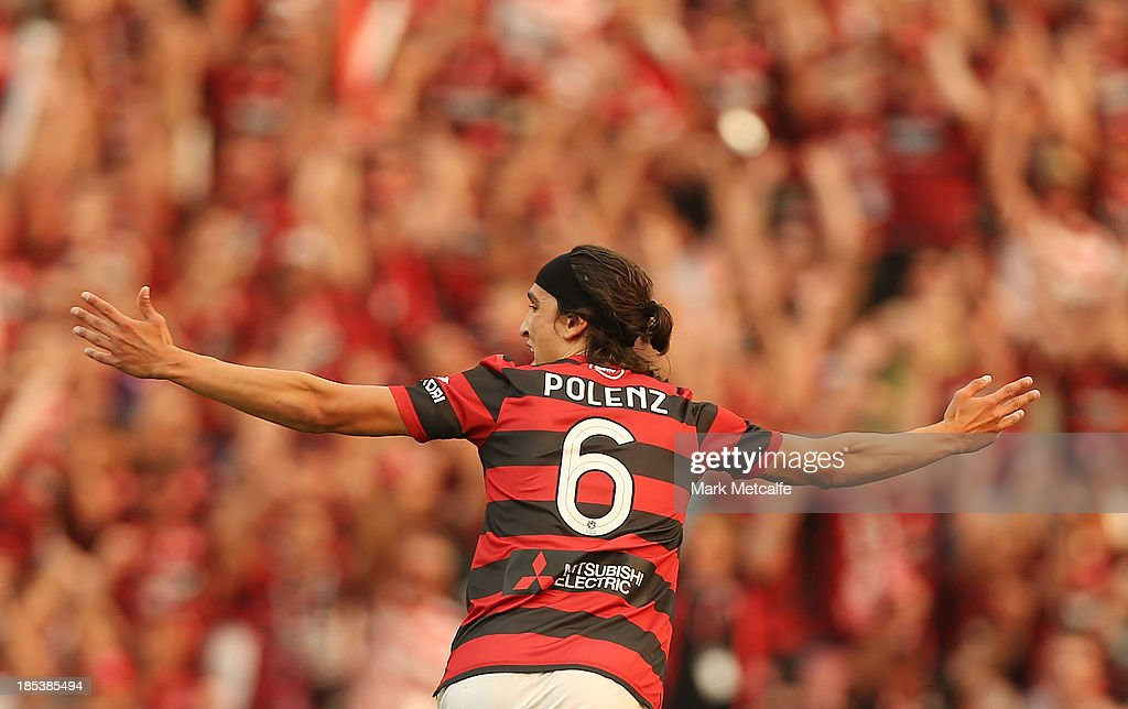 Jerome Polenz of the Wanderers celebrates scoring a goal during the round two A-League match between the Western Sydney Wanderers and Wellington Phoenix at Parramatta Stadium on October 20, 2013 in Sydney, Australia.