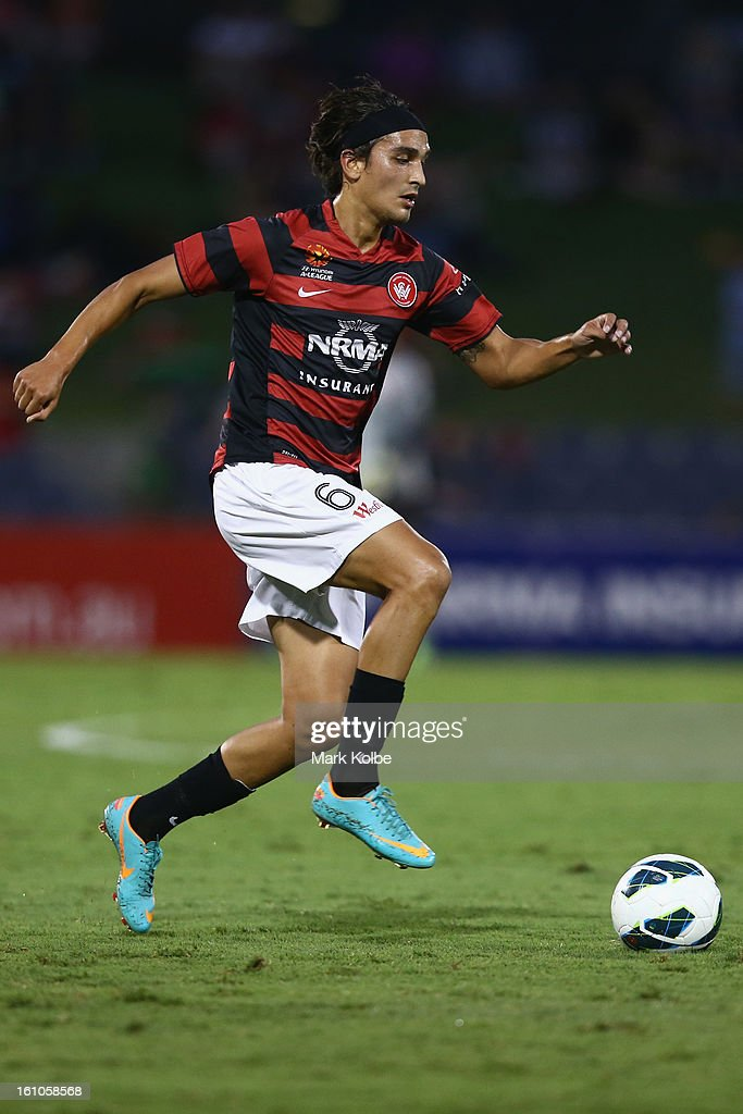 Jerome Polenz of the Wanderers controls the ball during the round 20 A-League match between the Western Sydney Wanderers and the Newcastle Jets at Campbelltown Sports Stadium on February 9, 2013 in Sydney, Australia.
