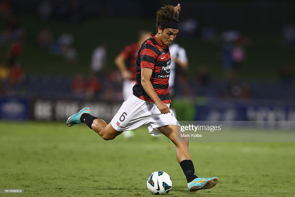 Jerome Polenz of the Wanderers shoots at goal during the round 20 A-League match between the Western Sydney Wanderers and the Newcastle Jets at Campbelltown Sports Stadium on February 9, 2013 in Sydney, Australia.