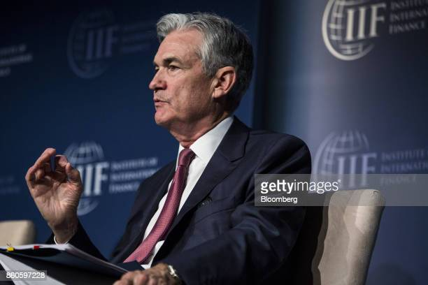 Jerome Powell governor of the US Federal Reserve speaks during the Institute of International Finance annual membership meeting in Washington DC US...