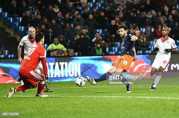Jerome Prior of Bordeaux and Mathieu Deplagne of Montpellier during the French Ligue 1 match between Montpellier and Bordeaux at Stade de la Mosson...