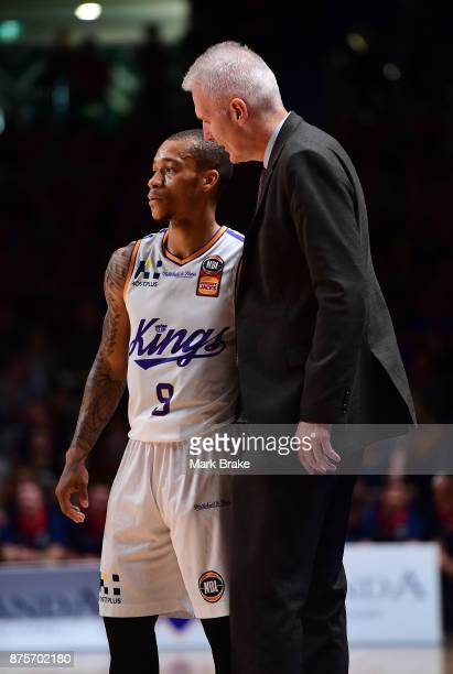Jerome Randle of Sydney and coach Andrew Gaze during the round seven NBL match between Adelaide 36ers and the Sydney Kings at Titanium Security Arena...
