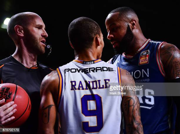 Jerome Randle of Sydney has words with Shannon Shorter of Adelaide during the round seven NBL match between Adelaide 36ers and the Sydney Kings at...