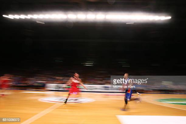 Jerome Randle of the Adelaide 36ers brings the ball forward during the round 14 NBL match between the Adelaide 36ers and the Illawarra Hawks at...