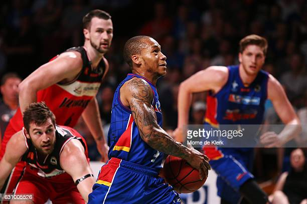 Jerome Randle of the Adelaide 36ers goes for the basket during the round 14 NBL match between the Adelaide 36ers and the Illawarra Hawks at Titanium...