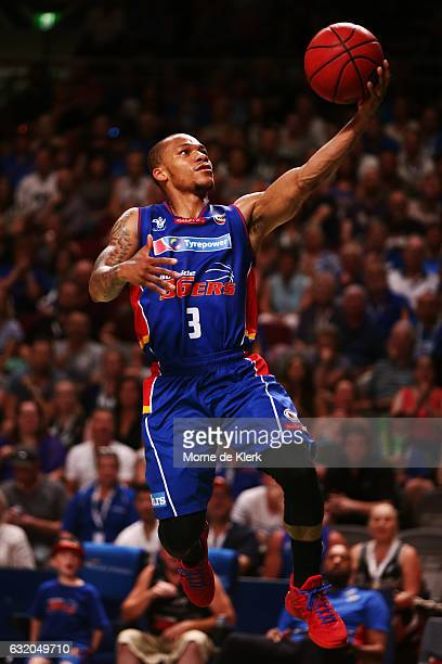 Jerome Randle of the Adelaide 36ers goes for the basket during the round 16 NBL match between the Adelaide 36ers and the Brisbane Bullets at Titanium...