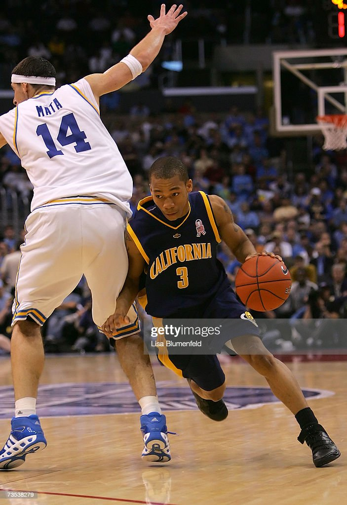 Jerome Randle #3 of the California Golden Bears dribbles around the defense of Lorenzo Mata #14 of the UCLA Bruins during overtime of the quarterfinals of the Pacific Life Pac-10 Basketball Tournament on March 8, 2007 at Staples Center in Los Angeles, California. California defeated UCLA