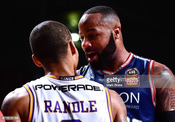Jerome Randle of the Sydney Kings cops words from Shannon Shorter during the round seven NBL match between Adelaide 36ers and the Sydney Kings at...