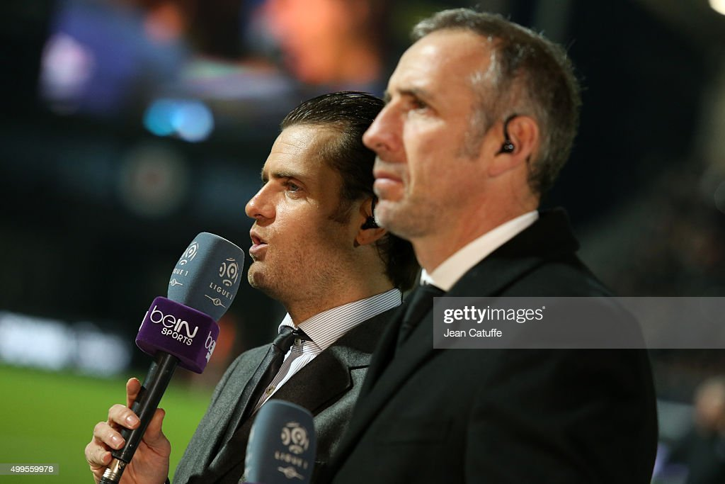 <a gi-track='captionPersonalityLinkClicked' href=/galleries/search?phrase=Jerome+Rothen&family=editorial&specificpeople=641568 ng-click='$event.stopPropagation()'>Jerome Rothen</a> and Eric Roy comment for beIN Sport the French Ligue 1 match between Angers SCO and Paris Saint-Germain (PSG) at Stade Jean Bouin on December 1, 2015 in Angers, France.