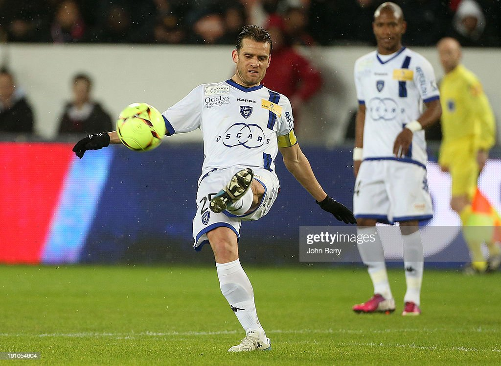 Jerome Rothen of SC Bastia in action during the French Ligue 1 match between Paris Saint Germain FC and Sporting Club de Bastia at the Parc des Princes stadium on February 8, 2013 in Paris, France.