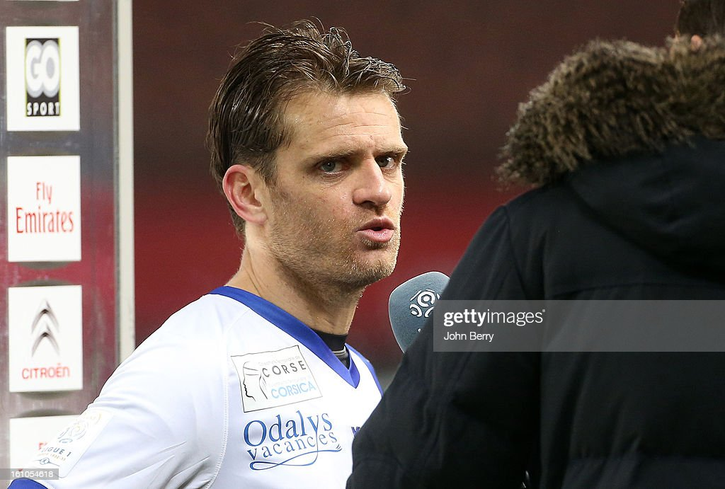 Jerome Rothen of SC Bastia interviewed after the French Ligue 1 match between Paris Saint Germain FC and Sporting Club de Bastia at the Parc des Princes stadium on February 8, 2013 in Paris, France.