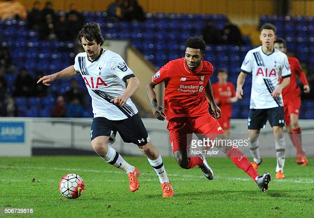 Jerome Sinclair of Liverpool and Filip Lesniak of Tottenham Hotspur in action during the Liverpool and Tottenham Hotspur Barclays U21 Premier League...