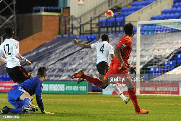 Jerome Sinclair of Liverpool scores during the Liverpool v Manchester United U21 Premier League game at Prenton Park on March 11 2016 in Birkenhead...