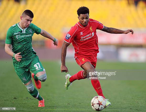 Jerome Sinclair of Liverpool youth competes with Ventsislav Kerchev of PFC Ludogorets Razgrad youth during the UEFA Youth League match between PFC...