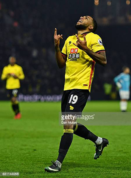 Jerome Sinclair of Watford celebrates after scoring his sides second goal during The Emirates FA Cup Third Round match between Watford and Burton...