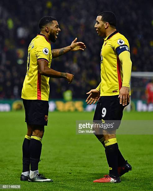 Jerome Sinclair of Watford celebrates scoring his team's second goal with his team mate Troy Deeney during The Emirates FA Cup Third Round match...