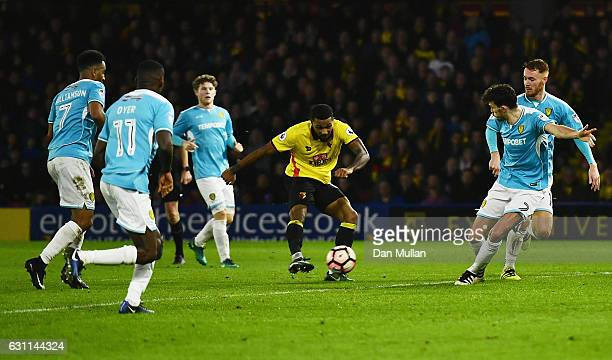 Jerome Sinclair of Watford scores his sides second goal during The Emirates FA Cup Third Round match between Watford and Burton Albion at Vicarage...