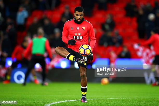 Jerome Sinclair of Watford warms up prior to the Premier League match between Stoke City and Watford at Bet365 Stadium on January 3 2017 in Stoke on...
