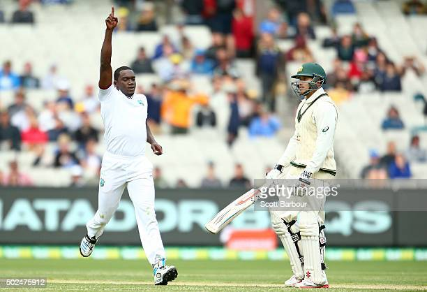 Jerome Taylor of the West Indies celebrates after dismissing Usman Khawaja of Australia during day one of the Second Test match between Australia and...