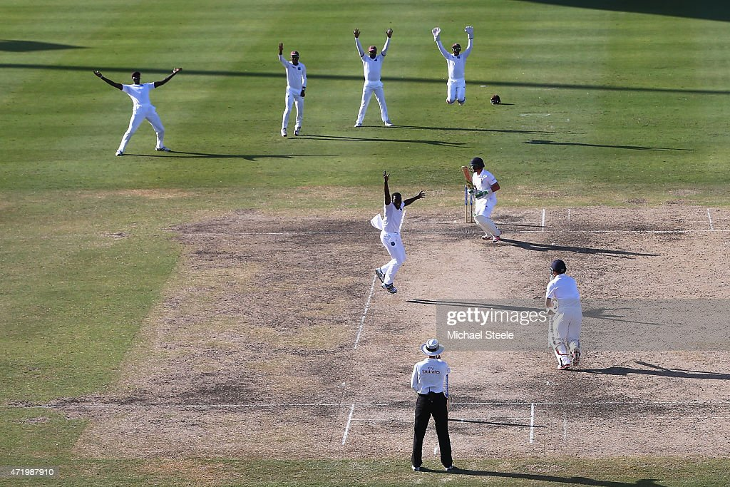 Jerome Taylor of West Indies appeals successfully for the lbw wicket of Ian Bell of England uring day two of the 3rd Test match between West Indies and England at Kensington Oval on May 2, 2015 in Bridgetown, Barbados.