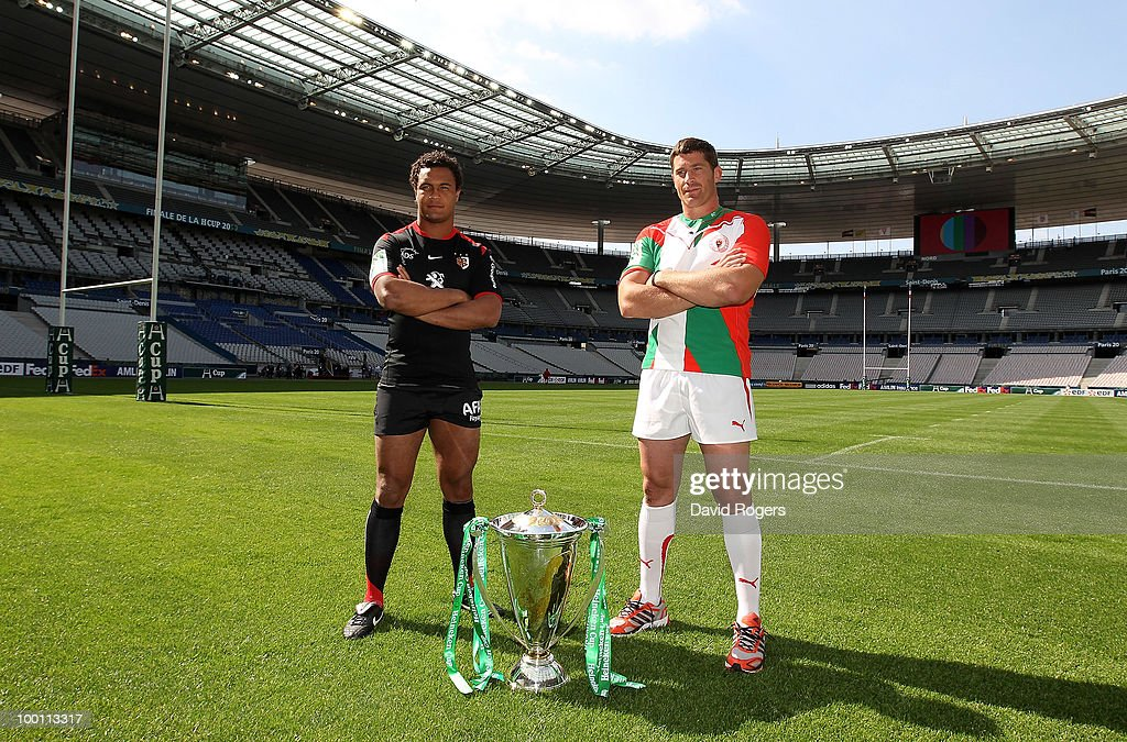 Jerome Thion captain of Biarritz Olympique and Thierry Dusautoir captain of Toulouse pose with the Heineken Cup at the Stade de France on May 21 2010...